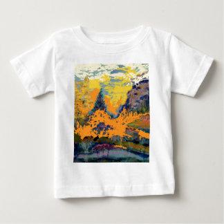 西部山の《植物》アスペンの風景画 ベビーTシャツ