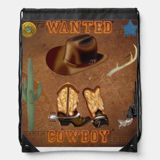 西部望まれたカウボーイ・ブーツの帽子銃のサボテン ナップサック