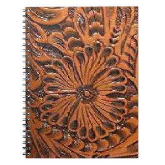 西部用具の革プリントの螺線形ノート ノートブック