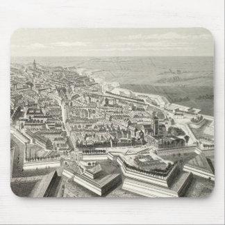 要塞のリールの歴史的なフランスのな空中写真のヴィンテージ マウスパッド
