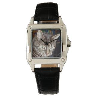 見ているデーブ完全な正方形の革腕時計 腕時計