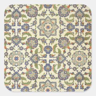 「見られるようにアラビアの芸術からのQasr Rodouanのタイルを、囲んで下さい 正方形シールステッカー