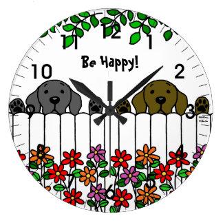 見るラブラドールのデュオ ラージ壁時計