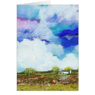 見事で抽象的な景色の芸術の農場の納屋の家 グリーティングカード