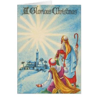 見事なクリスマスの羊飼いおよび星 カード