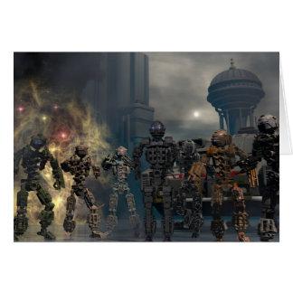 見事な7台のロボットb グリーティングカード