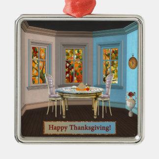 見晴らし窓が付いている感謝祭のDinning部屋 メタルオーナメント