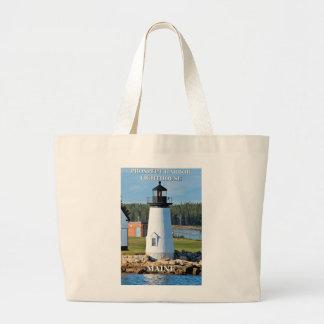 見通し港の灯台、メインの郵便はがき ラージトートバッグ