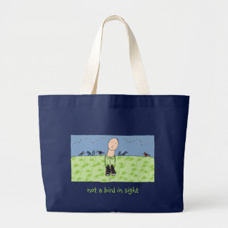 視力の鳥監視人のバッグのない鳥 ラージトートバッグ