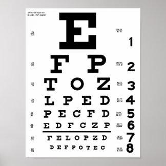 視力検査表のプリント ポスター