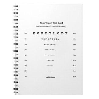 視野テストカード視力の検査の近く ノートブック