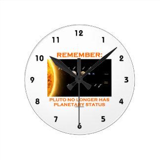 覚えて下さい: プルートにもはや惑星の状態があります ラウンド壁時計