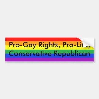 親ゲイの権利、妊娠中絶反対、保守的な共和党員 バンパーステッカー