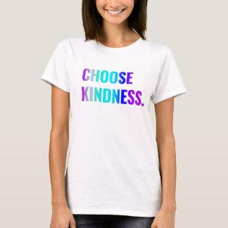 親切さのTシャツの紫色か青のレタリングを選んで下さい Tシャツ