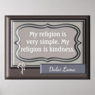 親切さ私の宗教-ダライ・ラマの引用文-プリント ポスター