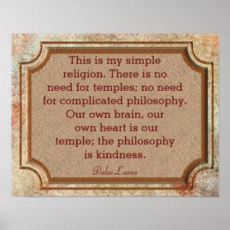 親切さ-ダライ・ラマの引用文-の哲学プリント ポスター