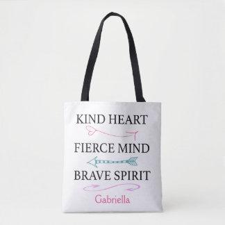 親切なハート、激しい心、勇敢な精神のトートバック トートバッグ