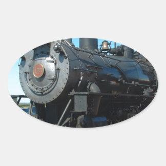 親切な写真撮影の古い蒸気の列車1 楕円形シール