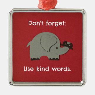 親切な単語の使用について子供へメッセージ メタルオーナメント