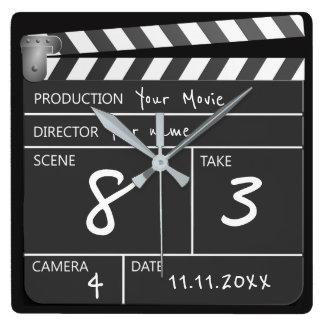 親切な映画Clapperboardの名前入りな1つ スクエア壁時計