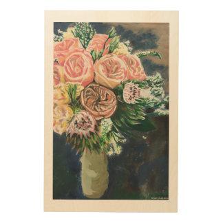 親切な花の花束のMonotypeのプリントの1つ ウッドウォールアート