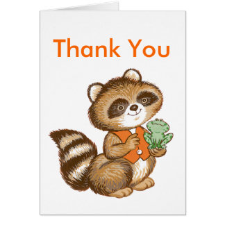 親友のカエルが付いているオレンジベストのベビーのアライグマ カード