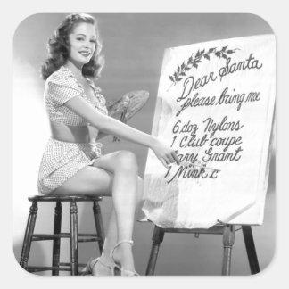 親愛なるサンタのピンナップの女の子 スクエアシール