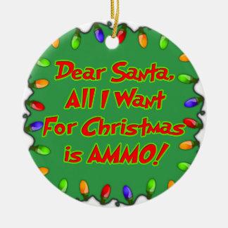 親愛なサンタの弾薬クリスマスの願いの手紙 セラミックオーナメント