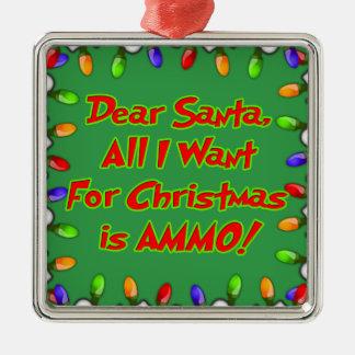 親愛なサンタの弾薬クリスマスの願いの手紙 メタルオーナメント
