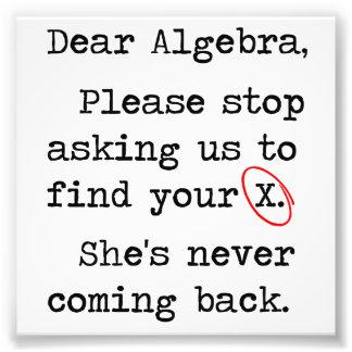 親愛な代数学はあなたのXを見つけるために私達に尋ねることを止めます フォトプリント
