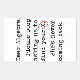 親愛な代数学はあなたのXを見つけるために私達に尋ねることを止めます 長方形シール