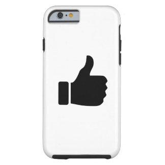 親指はピクトグラムのiPhone6ケースを持ち上げます ケース