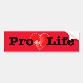 """""""親指""""を吸っている胎児との妊娠中絶反対のハート バンパーステッカー"""