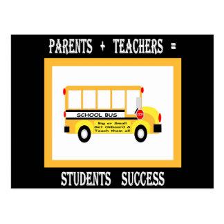 親 + 先生=学生の成功(黒) ポストカード