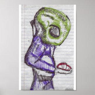 観察の緑のエイリアン ポスター
