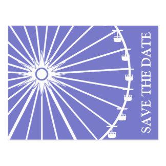 観覧車の保存日付の郵便はがき(プラム紫色) ポストカード