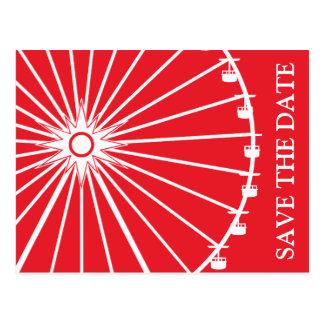 観覧車の保存日付の郵便はがき(赤い) ポストカード