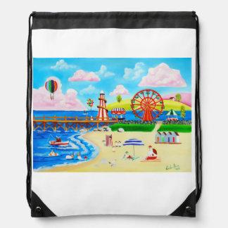 観覧車の民芸のビーチの背景画 ナップサック