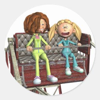 観覧車の漫画の母そして娘 ラウンドシール