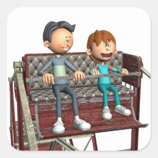 観覧車の漫画の父そして息子 スクエアシール
