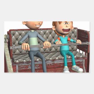 観覧車の漫画の父そして息子 長方形シール
