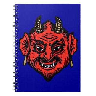 角状の赤いSatanの悪魔の顔 ノートブック