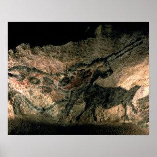 角状動物の絵画、c.17000を紀元前に揺すって下さい(洞窟 ポスター