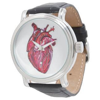 解剖ハートのヴィンテージの黒の銀の腕時計 腕時計