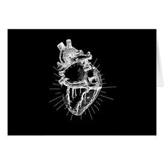 解剖学的に正しいハートの黒の背景カード グリーティングカード