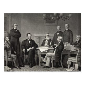 解放の布告を読むリンカーン ポストカード