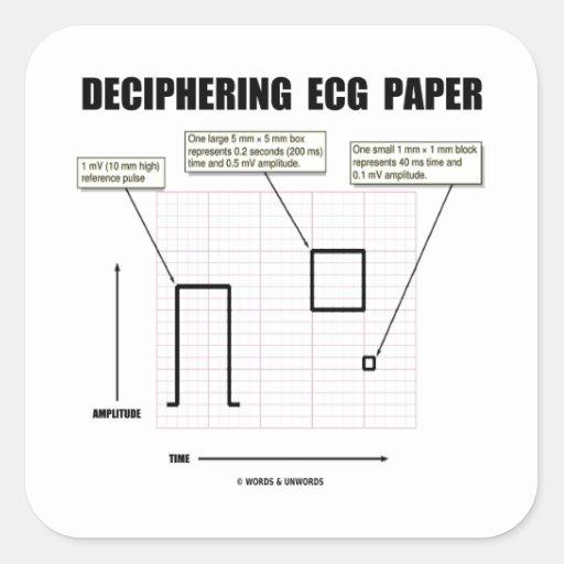 解読|ECG|紙 正方形シールステッカー