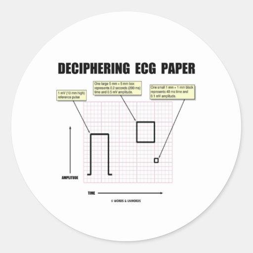 解読|ECG|紙 丸形シールステッカー
