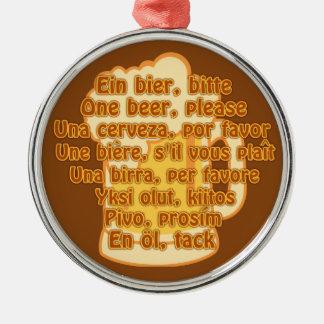 言語カスタムなオーナメントのビール シルバーカラー丸型オーナメント