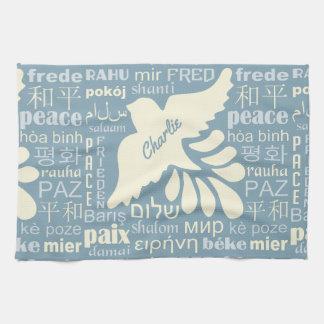 言語名前をカスタムする手タオルの平和 キッチンタオル